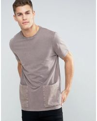 ASOS - Longline T-shirt With Snow Wash And Patch Pockets - Lyst