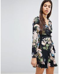 Missguided - Floral Printed Wrap Dress - Lyst
