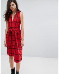 Cheap Monday - Rizzle Tie Waist Check Dress - Lyst