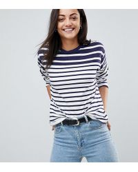 e22c967192729 Lyst - Asos T-shirt With Cutabout Print And Stripe in Blue