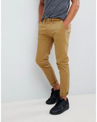 Pull&Bear - Skinny Chinos With Belt In Tan - Lyst