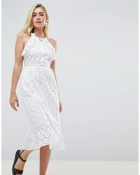 ASOS - Broderie Midi Dress With Open Back - Lyst