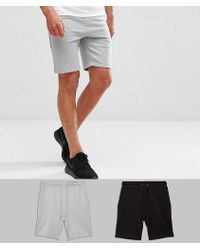 ASOS - Jersey Short 2 Pack Black/grey Marl Save - Lyst