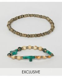 Reclaimed (vintage) - Inspired Beaded Bracelet With Cross Exclusive At Asos - Lyst