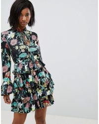 Club L - High Neck Floral Dress With Tiered Frill Detail - Lyst