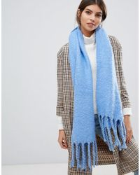 Oasis - Knitted Scarf With Tassels In Blue - Lyst