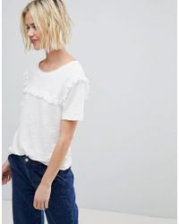 Suncoo - T-shirt With Ruffle Front - Lyst