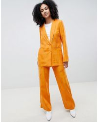 Gestuz - Orange Wide Leg Trousers With Feather Pattern - Lyst