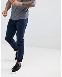 Ted Baker - Slim Trousers In Blue Peached Cotton With Drawstrings - Lyst