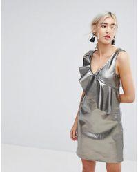 Vila - Metallic Shift Dress With Frill Detail - Lyst