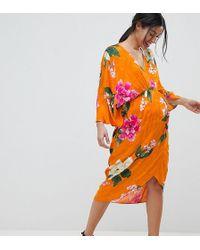 ASOS - Asos Design Maternity Kimono Midi Dress In Bold Floral Jacquard - Lyst