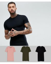 ASOS - Longline Muscle Fit T-shirt 3 Pack Multipack Saving - Lyst