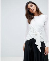 Karen Millen - Chiffon Sleeve Tie Top - Lyst