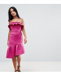 ASOS - Ruffle Bandeau Bodycon Dress - Lyst