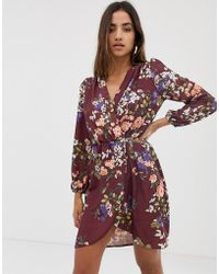 Love Long Sleeve Floral Wrap Dress - Red