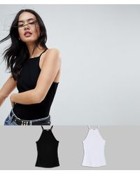 ASOS - Cami With Square Neck In Fitted Rib 2 Pack Save 10% - Lyst