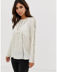 French Connection - Polly Plains Sheer Panelled Blouse - Lyst