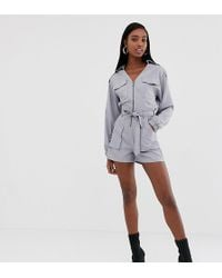 Missguided - Utility Belted Playsuit In Grey - Lyst