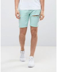 ASOS - Denim Shorts In Skinny Ice Blue With Thigh Rip - Lyst