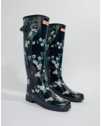 HUNTER - Print Tall Wellington Boot - Lyst