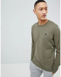 Abercrombie & Fitch - Long Sleeve T-shirt With Moose Logo In Green - Lyst