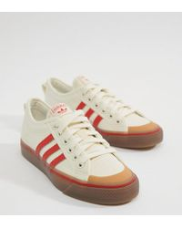adidas Originals - Nizza Canvas Sneakers In White And Red - Lyst