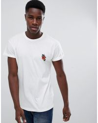 New Look - T-shirt With Rose Embroidery In White - Lyst