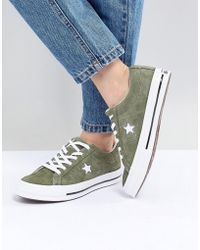 Converse - One Star Suede Oc Trainer In Khaki - Lyst