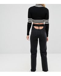 ASOS - High Waisted Straight Leg Jeans With Open Back In Ashes Washed Black With Belt - Lyst
