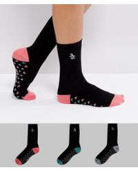 Original Penguin - 3 Pack Black Ankle Sock With Multi Colored Triangle - Lyst