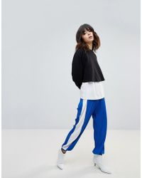ASOS - Plisse Joggers With Side Stripe - Lyst