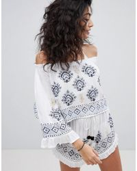 South Beach - Embroidered Co-ord Bardot Beach Top With Bell Sleeve - Lyst