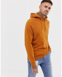 ASOS - Hoodie With Rib Inserts In Brown - Lyst