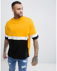ASOS - Design Longline Oversized T-shirt With Colour Blocking With Yellow - Lyst