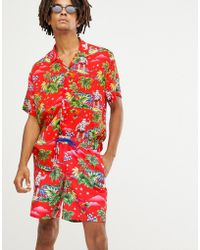ASOS - Christmas Swim Shorts With Surfing Santa Print In Mid Length - Lyst