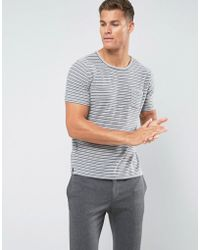 Mango - Man Striped T-shirt In Grey And White - Lyst