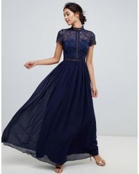 Chi Chi London - 2 In 1 Lace Top Maxi Dress In Navy - Lyst