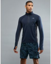 The North Face - Mountain Athletics Impulse 1/4 Zip Top In Navy - Lyst