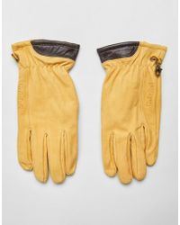 Timberland - Nubuck Boot Leather Glove In Wheat Yellow - Lyst