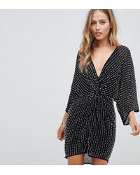 ASOS - Mini Kimono Dress With Starburst Beading - Lyst