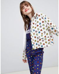Love Moschino - Heart Print Hooded Rain Jacket - Lyst
