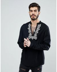 ASOS - Regular Fit Over The Head Shirt With Neck Embroidery - Lyst