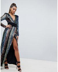43ff660d24b Lyst - Club L Plus Short Sleeve Wrap Over Open Split Maxi Dress in Gray