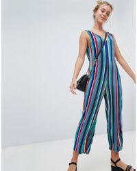 Bershka - Multi Striped Plisse Jumpsuit - Lyst