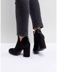 Bershka - Zip Back Heeled Ankle Boot - Lyst