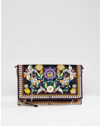 New Look - Bright Embroidered Clutch - Lyst