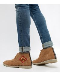 ASOS - Desert Boots In Tan Cord With Embroidery Detail - Lyst