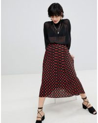 Warehouse - Spot Print Pleated Midi Skirt - Lyst