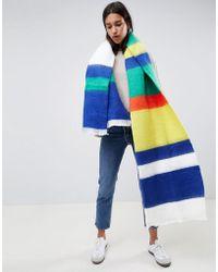 ASOS Oversized Long Woven Scarf In Multi Stripe - Blue