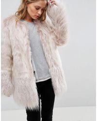 Urbancode - Coat In Mongolian Faux Fur Mix - Lyst